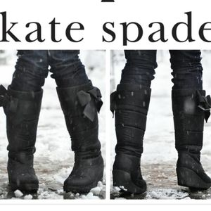 Kate Spade Black Cagney Satin Bow Wedge Boots/Boot